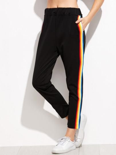 Black Rainbow Stripe Slim Joggers - TAGVIN
