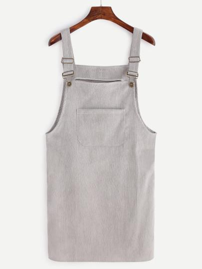 Grey Corduroy Overall Pocket Dress - TAGVIN