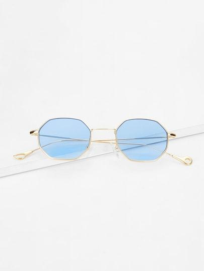 Polygon Frame Tinted Lens Sunglasses - TAGVIN