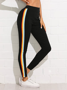 Rainbow Stripe Side Skinny Jogger - TAGVIN