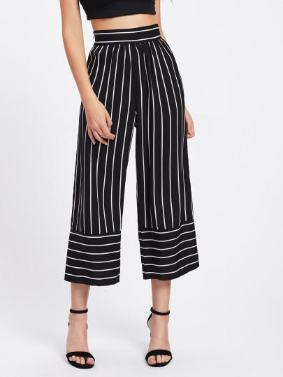 Striped Wide Leg Pants - TAGVIN