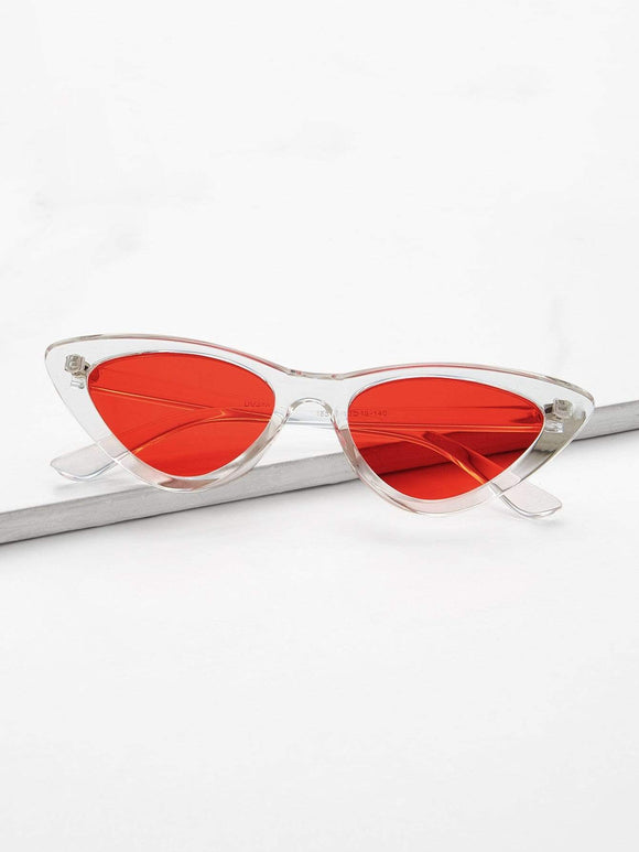 Tinted Lens Cat Eye Sunglasses - TAGVIN