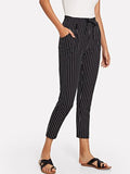 Vertical-Striped Tapered Leg Pants - TAGVIN