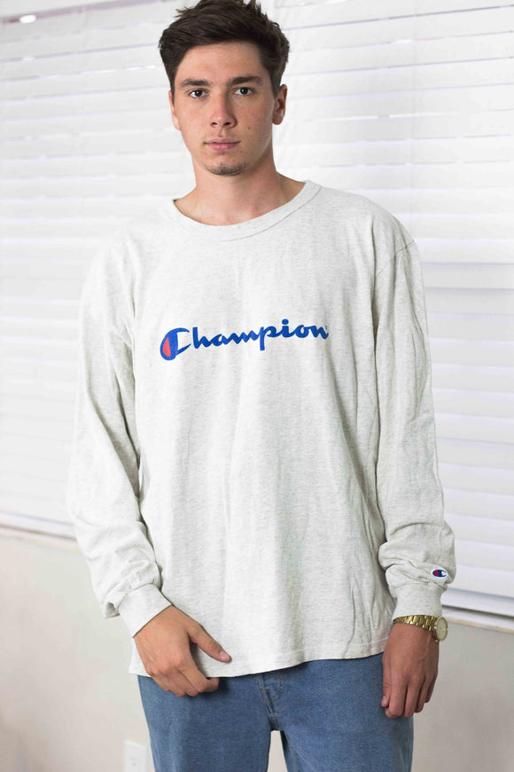 Vintage Champion Big Logo Long Sleeve T-Shirt 90s - TAGVIN
