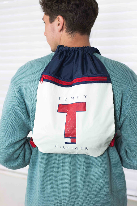 Vintage Tommy Hilfiger Big Logo Backpack Bag 90s - TAGVIN