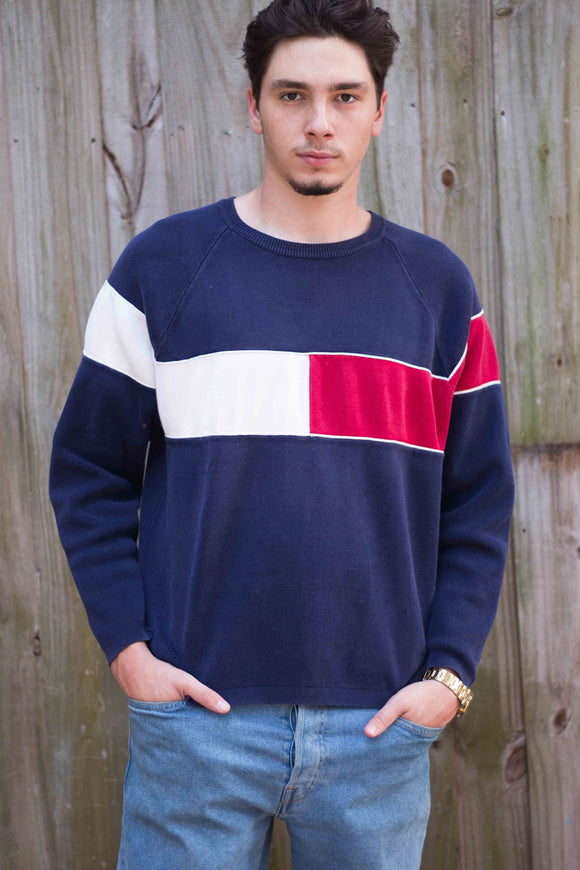 Vintage Tommy Hilfiger Big Logo Sweater Jumper - TAGVIN