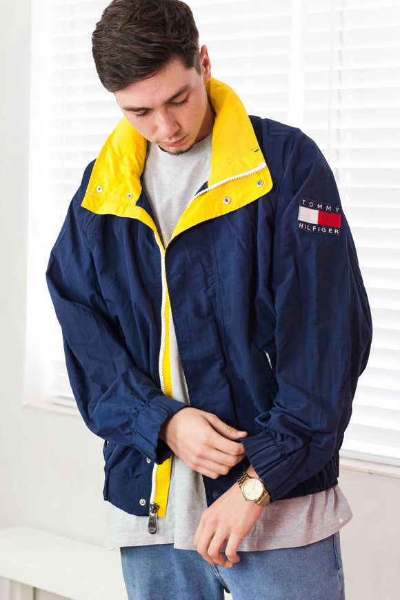 Vintage Tommy Hilfiger Big Logo Windbreaker Jacket 90s - TAGVIN