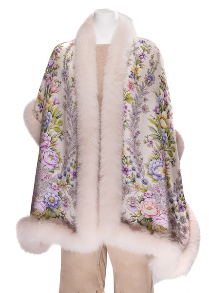 21f1be6615 ... Off White Silk Stole with Multi-color Flower Print Trimmed with Ivory  Fox Fur ...