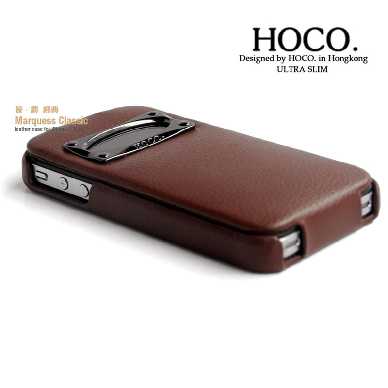 HOCO iPhone 4/4s Marquess Classic Flip Leather Case - Brown - Gearlyst