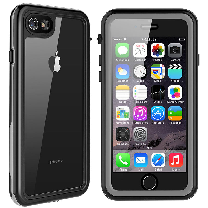 iPhone 7/8 Waterproof Shockproof Rugged Case - Black/ Clear