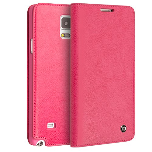QIALINO Samsung Galaxy NOTE 4 Premium Leather Wallet Case - Rose - Gearlyst