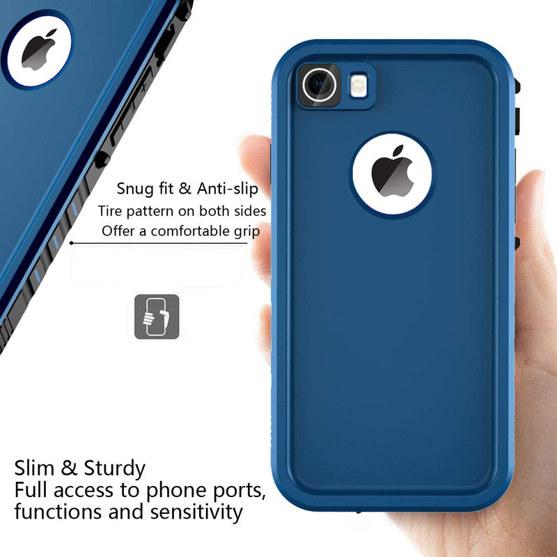 iPhone 7/8 Waterproof Shockproof Full-Body Rugged Case - Blue