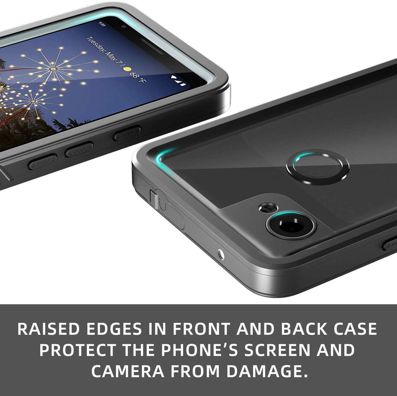 Waterproof Dirt Proof Rugged Case for Google Pixel 3a / 3a XL  - Black/Clear - Gearlyst
