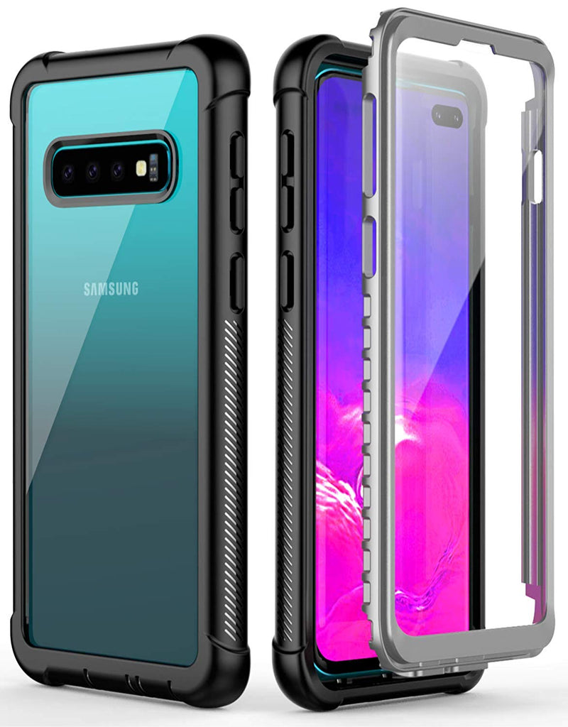 UDUN Galaxy S10 Full-Body Rugged Case with Built-in Screen Protector - Clear Back
