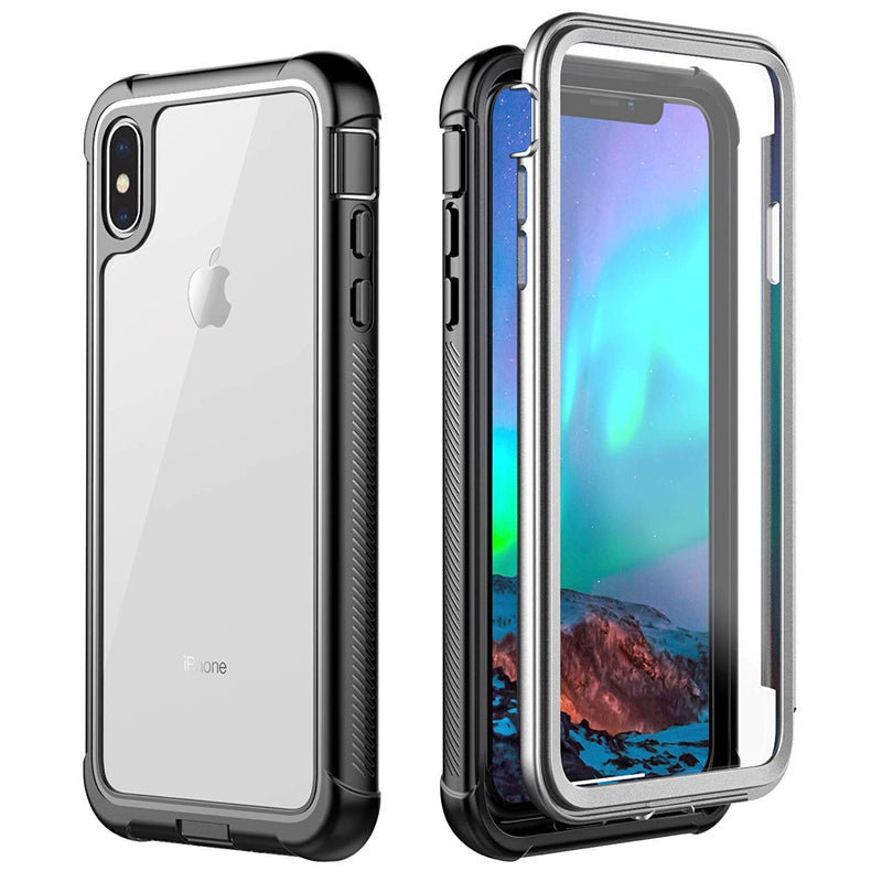 SMARTSO iPhone Xs/X Full-Body Rugged Slim Case with Built-in Screen Protector