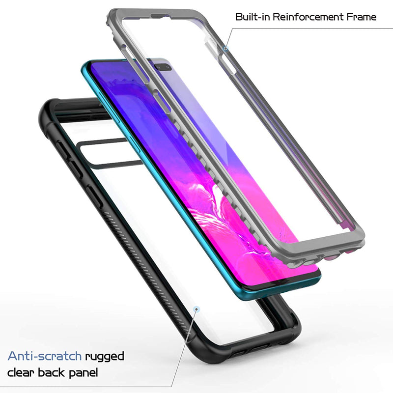 UDUN Galaxy S10 Full-Body Rugged Case with Built-in Screen Protector - Clear Back - Gearlyst