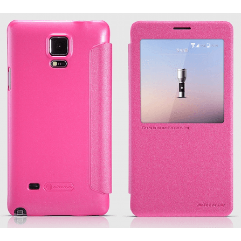 Nillkin Sparkle Leather Smart Window Cover for Galaxy NOTE 4 - Pink - Gearlyst