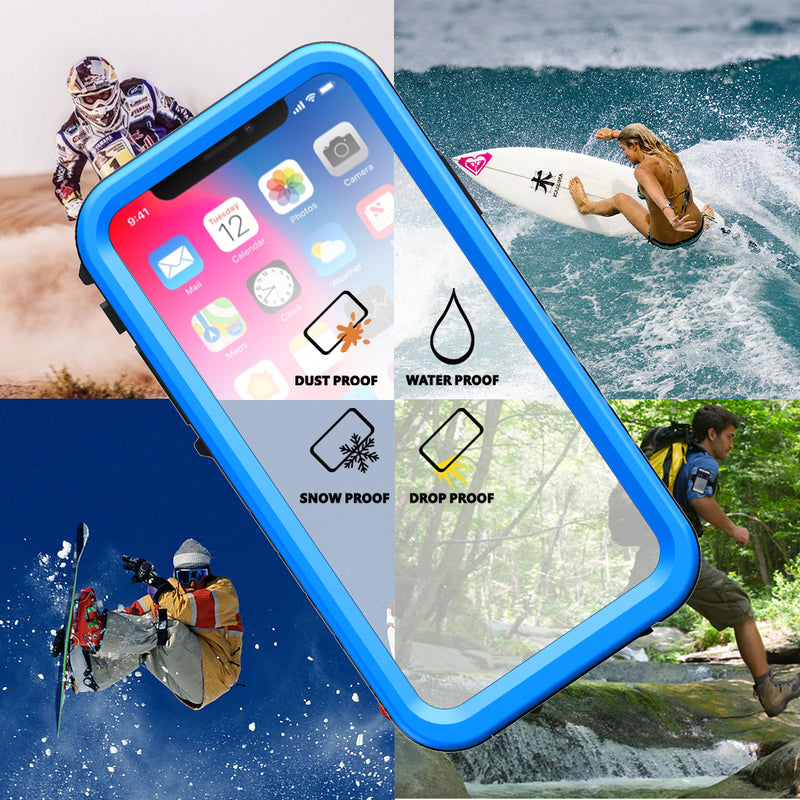 iPhone X/Xs Rugged Drop-Proof Waterproof Case - Blue - Gearlyst