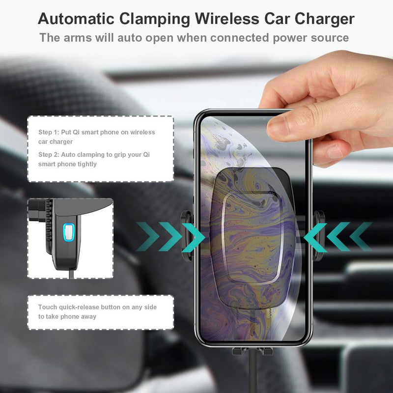 Smart Wireless Car Charger Auto Clamping 10W/7.5W/ 5W Qi Fast Charge Car Mount - Gearlyst