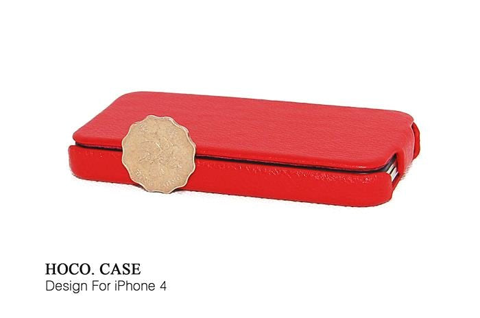 HOCO Duke Advanced Flip Leather Case for iPhone 4/4s - Red - Gearlyst