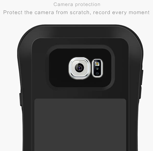 LOVE MEI Galaxy NOTE 5 ShockProof Heavy Duty Metal Case with Gorilla Glass Screen - Black - Gearlyst