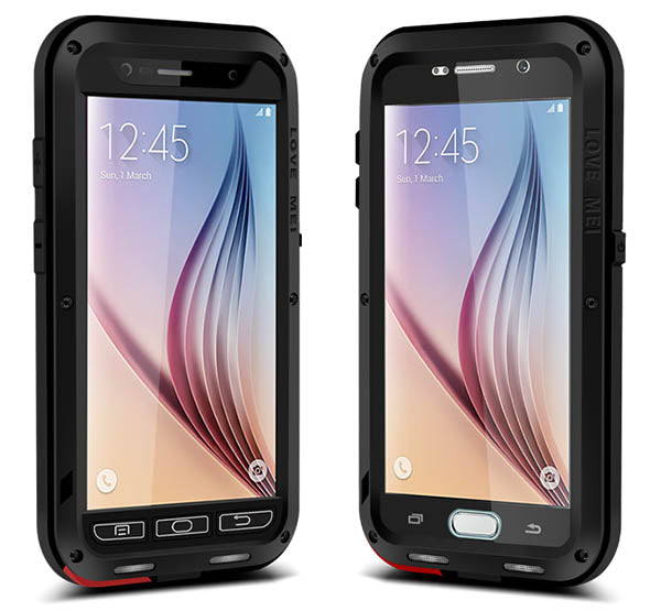 LOVE MEI Galaxy S6 ShockProof Heavy Duty Metal Case with Gorilla Glass Screen - Black - Gearlyst