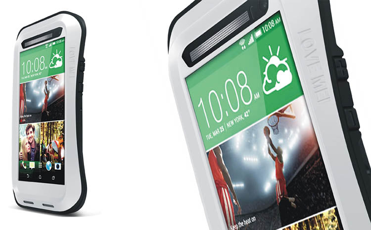 Love Mei powerful Metal Case for HTC M8 withTempered Glass - White - Gearlyst