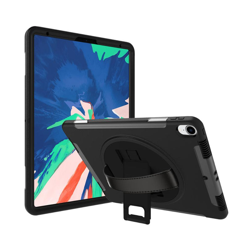 iPad Pro 12.9 inch (2018) Full-Body ShockProof Rugged Case with Adjustable leather strap & Kick Stand - Black - Gearlyst