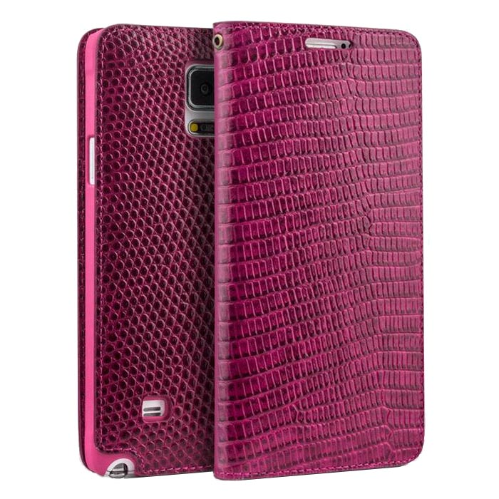 QIALINO Galaxy NOTE 4 Crocodile Pattern Luxury Leather Wallet Case - Pink - Gearlyst