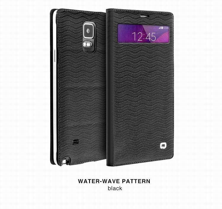 QIALINO Samsung Galaxy NOTE 4 Luxury Leather Smart Case - Black Wave - Gearlyst