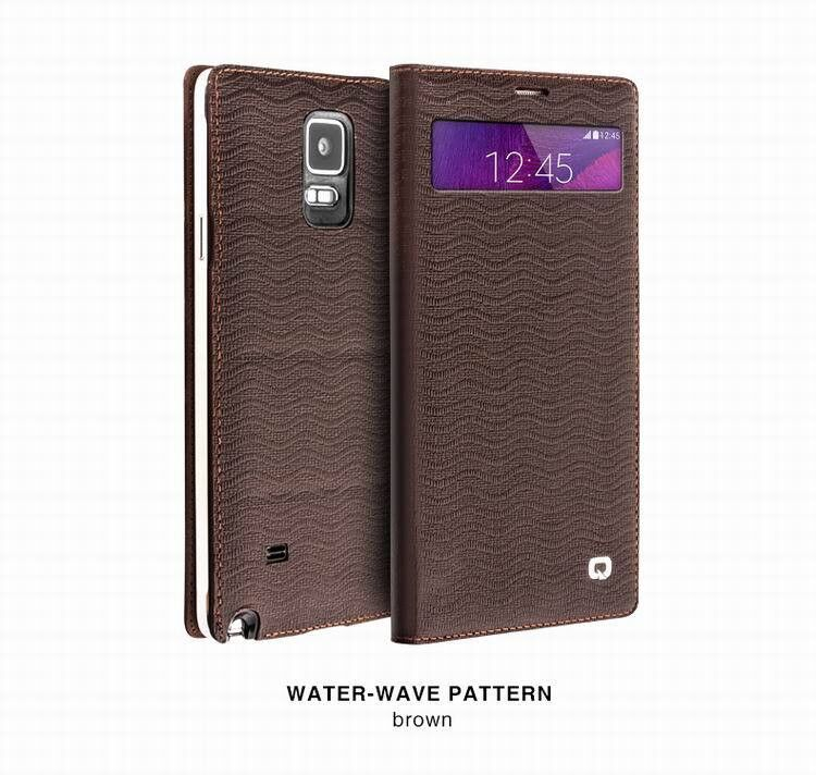 QIALINO Samsung Galaxy NOTE 4 Luxury Leather Smart Case - Brown Wave - Gearlyst