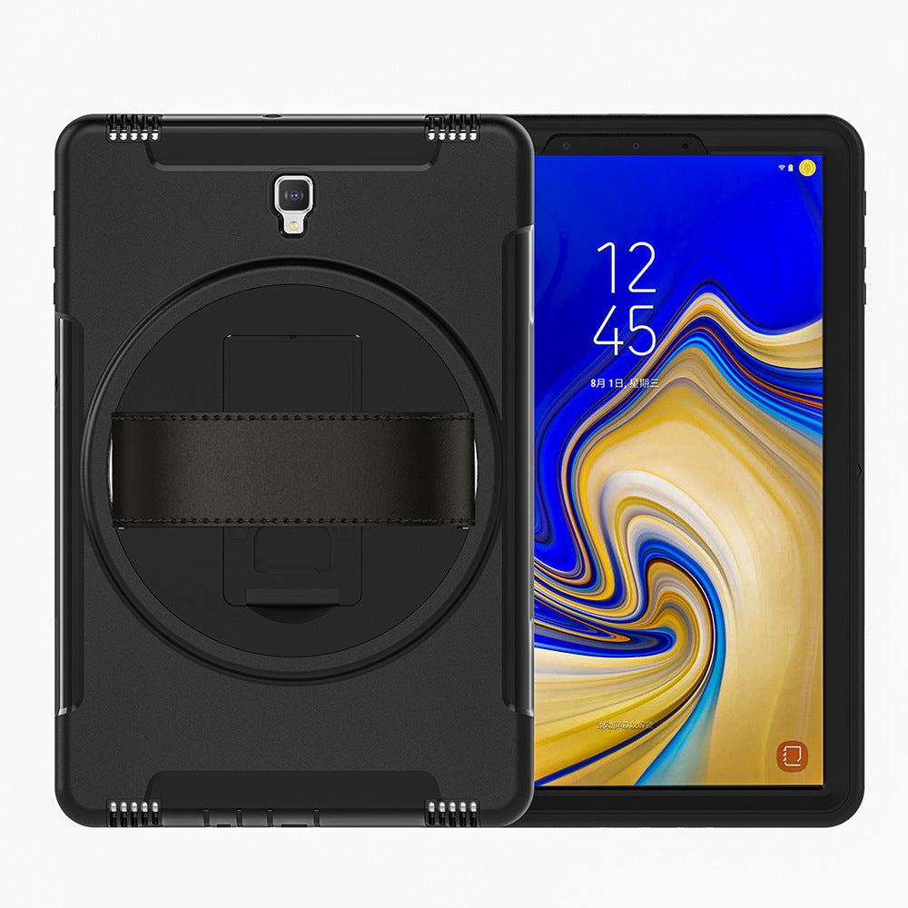 Samsung Galaxy Tab S4 10.5 Heavy Duty Case with Built-in Screen Protector, Hand Strap & 360 Rotating Kickstand - Gearlyst
