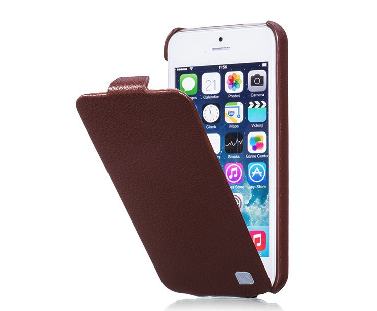 HOCO Duke Leather Flip Cover for iPhone 5/5s - Brown - Gearlyst
