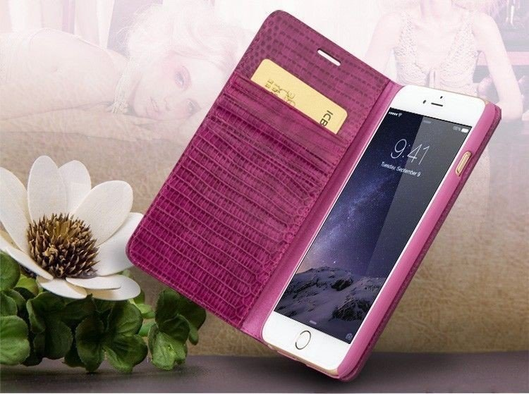 QIALINO iPhone 6 Plus / 6s Plus Crocodile Pattern Leather Wallet Case - Rose - Gearlyst