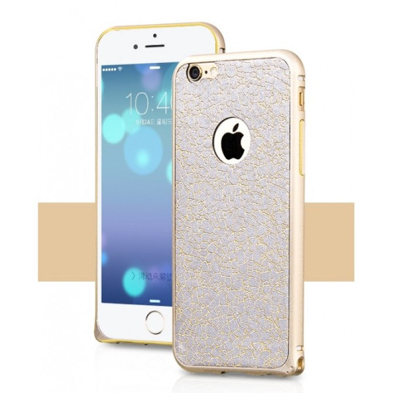HOCO Blade Metal Frame Case (Gold) for iPhone 6 Plus /6s Plus with Adhesive Leather Back Skin - Gearlyst
