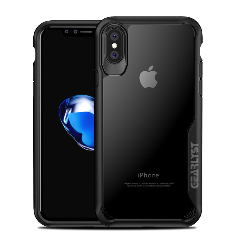 GEARLYST Hybrid Tough Slim Case for iPhone XS/X - Black /Grey - Gearlyst