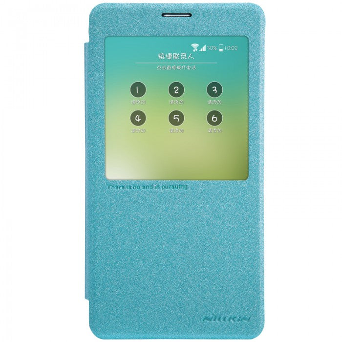 Nillkin Sparkle Leather Window Smart Cover for Galaxy NOTE 4 - Blue