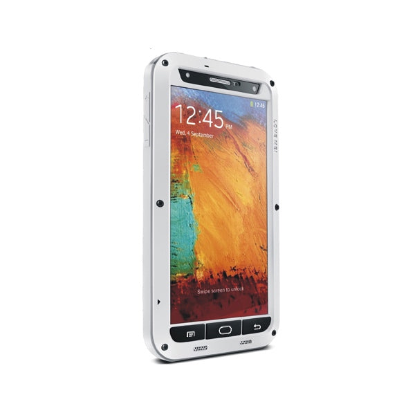 LOVE MEI Galaxy NOTE 3 ShockProof Heavy Duty Metal Case with Gorilla Glass Screen - White - Gearlyst