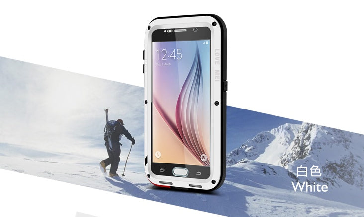 LOVE MEI Galaxy S6 ShockProof Heavy Duty Metal Case with Gorilla Glass Screen - White - Gearlyst