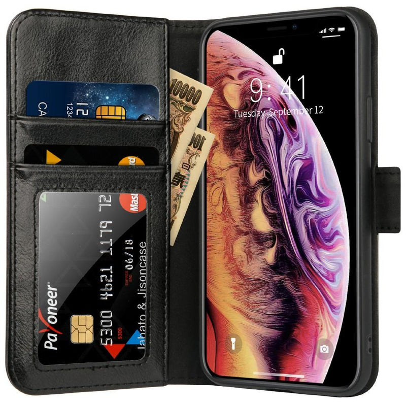 JS iPhone XR Xs Max Luxury Real Leather Wallet Case Cover with Magnetic Closure - Gearlyst