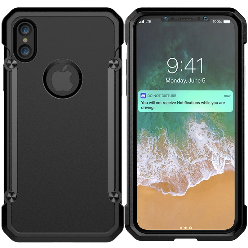 GearLyst ShockProof Tough Armor Case For iPhone XS/X - Full Black - Gearlyst