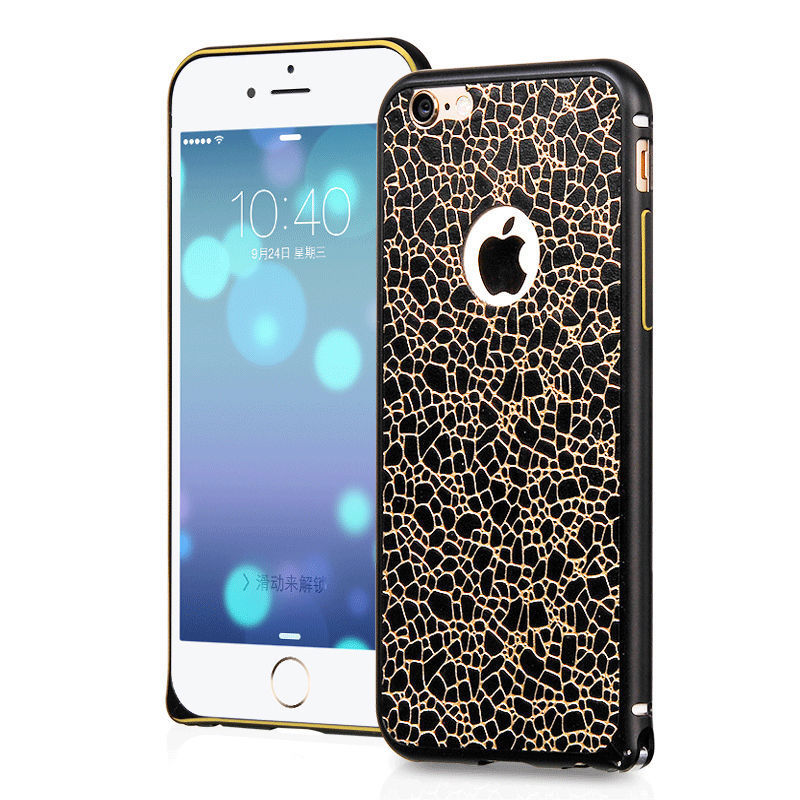 HOCO Blade Metal Frame Case (Black) for iPhone 6 Plus /6s Plus with Adhesive Leather Back Skin - Gearlyst