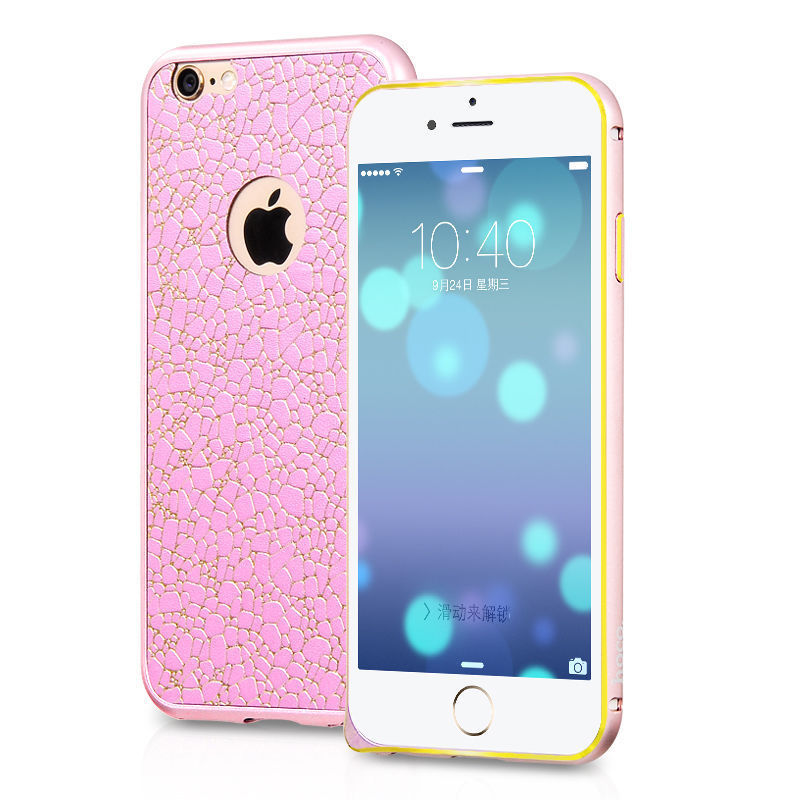 HOCO Blade Metal Frame Case (PINK) for iPhone 6 Plus /6s Plus with Adhesive Leather Back Skin - Gearlyst