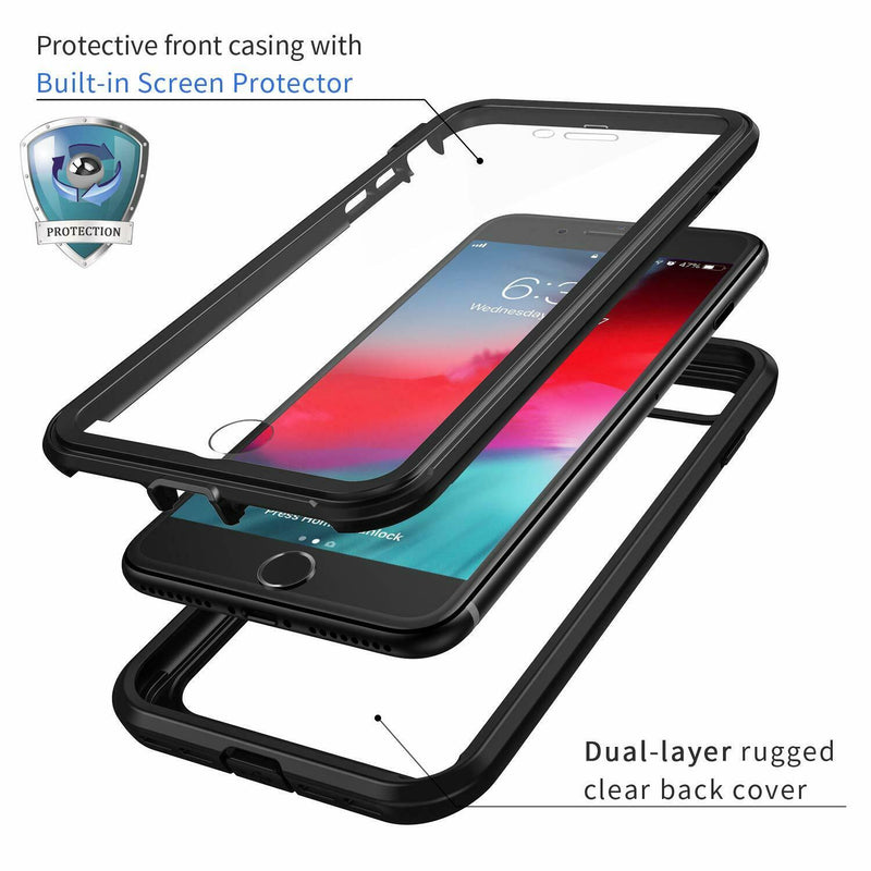 iPhone SE 2/ iPhone 7/8 Rugged Case with Built-in Screen Protector - Clear/ Black