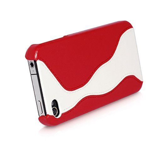 HOCO iPhone 4/4s Genuine Leather Back Case - White /Red - Gearlyst