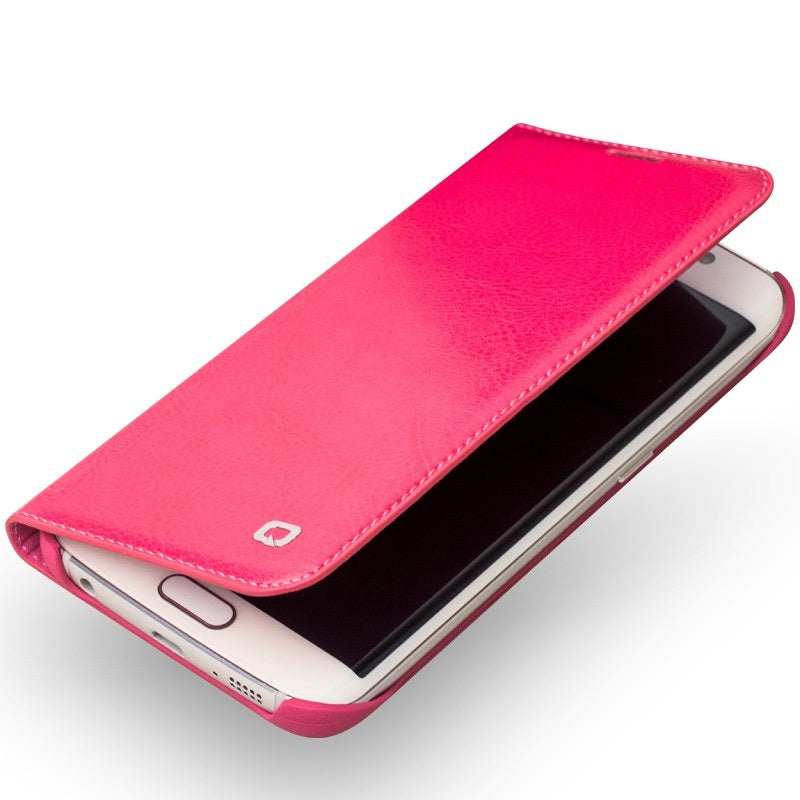 QIALINO Samsung Galaxy S6 Premium Real Leather Wallet Case - Rose - Gearlyst