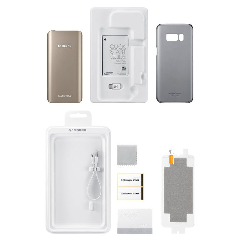 Original Samsung Galaxy S8+ Plus Starter Kit Pack Power Bank / Clear Case / Screen Protector