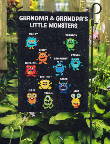 Grandma & Grandpa's Little Monsters Personalized Garden Flags