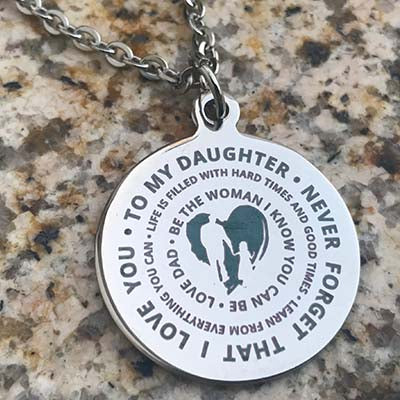 To My Daughter...Love Dad Necklace With Key Ring