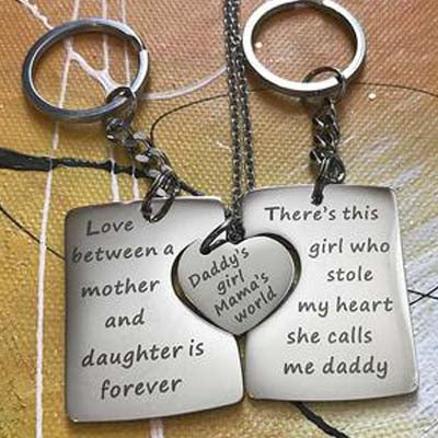 For Mom, Dad & Daughter - Daddy's Girl...Mama's World Keychains & Necklace